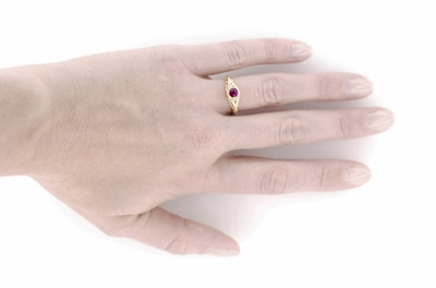 Art Deco Engraved Rhodolite Garnet and Diamond Filigree Engagement Ring in 18 Karat Yellow Gold - Item R138YG - Image 4