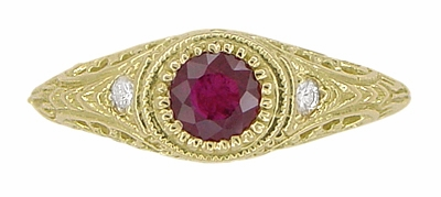 Art Deco Engraved Ruby and Diamond Filigree Engagement Ring in 18 Karat Yellow Gold - Item R189Y - Image 5