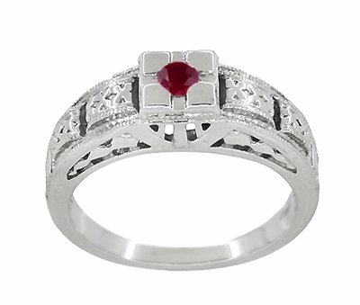 Art Deco Engraved Ruby Band Ring in Sterling Silver - Item SSR160R - Image 2