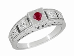 Art Deco Engraved Ruby Engagement Ring in Platinum, Simple Low Profile Vintage Ruby Engagement Band Style