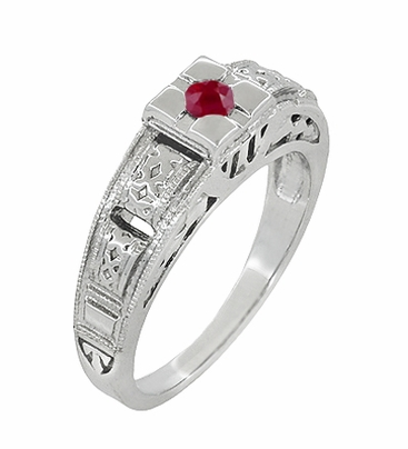 Art Deco Engraved Ruby Engagement Ring in Platinum, Simple Low Profile Vintage Ruby Engagement Band Style - Item R160PR - Image 1