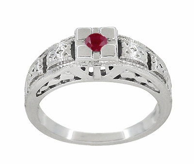 Art Deco Engraved Ruby Engagement Ring in Platinum, Simple Low Profile Vintage Ruby Engagement Band Style - Item R160PR - Image 2