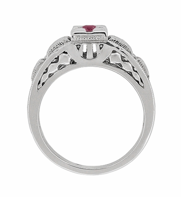 Art Deco Engraved Ruby Engagement Ring in Platinum, Simple Low Profile Vintage Ruby Engagement Band Style - Item R160PR - Image 3
