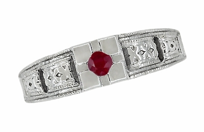 Art Deco Engraved Ruby Engagement Ring in Platinum, Simple Low Profile Vintage Ruby Engagement Band Style - Item R160PR - Image 4