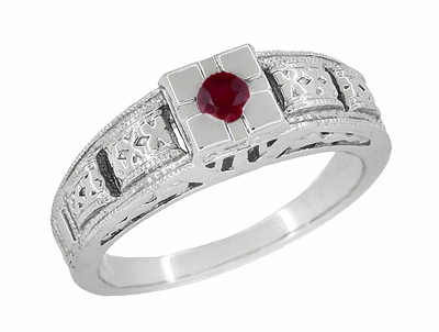 Art Deco Engraved Ruby Band Ring in Sterling Silver