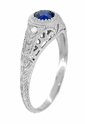 Art Deco Engraved Sapphire and Diamond Filigree Engagement Ring in 14 Karat White Gold - Item R138 - Image 1