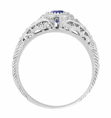 Art Deco Engraved Sapphire and Diamond Filigree Engagement Ring in 14 Karat White Gold - Item R138 - Image 2