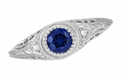 Art Deco Engraved Sapphire and Diamond Filigree Engagement Ring in 14 Karat White Gold - Item R138 - Image 3