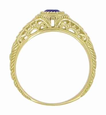 Art Deco Engraved Sapphire and Diamond Filigree Engagement Ring in 18 Karat Yellow Gold - Item R138Y - Image 2