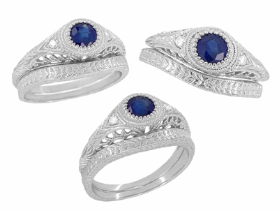 Art Deco Engraved Sapphire and Diamond Filigree Engagement Ring in Platinum - Item R138P - Image 5