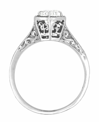Art Deco Engraved Scroll Filigree 1/3 Carat Diamond Hexagon Engagement Ring in 14K White Gold - Item R180W33D - Image 1