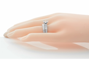Art Deco Engraved Scrolls 1 Carat Diamond Engagement Ring Setting and Wedding Ring in 18 Karat White Gold - Click to enlarge