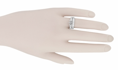 Art Deco Engraved Scrolls 1 Carat Diamond Engagement Ring Setting and Wedding Ring Set in 18 Karat White Gold - Item R628 - Image 3