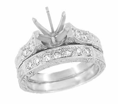 Art Deco Engraved Scrolls 3/4 Carat Diamond Engagement Ring Setting and Wedding Ring in Platinum - Item R724P - Image 1