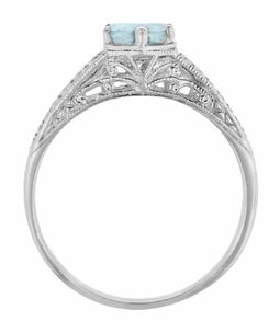 Art Deco Engraved Scrolls and Wheat Aquamarine Solitaire Engagement Ring in 18 Karat White Gold | 1920's Vintage Design - Item R688WA - Image 2
