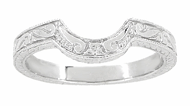 Art Deco Engraved Scrolls and Wheat Curved Wedding Band in 18 Karat White Gold - Item WR178 - Image 1