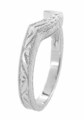 Art Deco Engraved Scrolls and Wheat Curved Wedding Band in 18 Karat White Gold - Item WR178 - Image 2