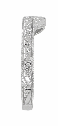 Art Deco Engraved Scrolls and Wheat Curved Wedding Band in 18 Karat White Gold - Item WR178 - Image 3