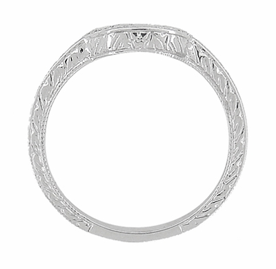 Art Deco Engraved Scrolls and Wheat Curved Wedding Band in 18 Karat White Gold - Item WR178 - Image 4