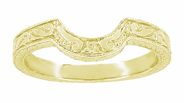 Art Deco Engraved Scrolls and Wheat Curved Wedding Band in 18 Karat Yellow Gold - Item WR178Y - Image 1