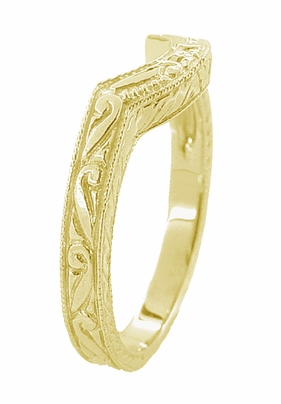 Art Deco Engraved Scrolls and Wheat Curved Wedding Band in 18 Karat Yellow Gold - Item WR178Y - Image 2