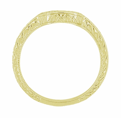 Art Deco Engraved Scrolls and Wheat Curved Wedding Band in 18 Karat Yellow Gold - Item WR178Y - Image 4