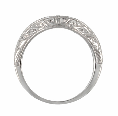 Art Deco Engraved Scrolls Curved Diamond Wedding Ring in 18 Karat White Gold - Item R1137WD - Image 4
