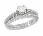 Art Deco Engraved Scrolls Diamond Engagement Ring and Wedding Ring Set in 14 Karat White Gold