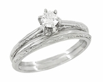 Engraved Scrolls Art Deco Diamond Engagement Ring and Wedding Ring Set in Platinum
