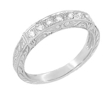Platinum Art Deco Engraved Scrolls Diamond Wedding Ring