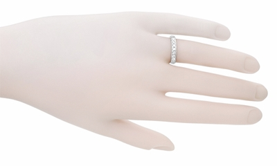 Art Deco Engraved Scrolls Wedding Ring in 18 Karat White Gold with Diamonds - Item WR628W - Image 2
