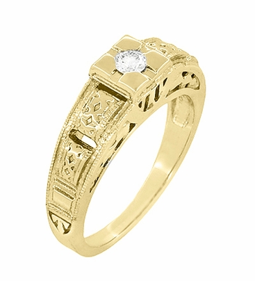 Art Deco Engraved Tiered Filigree Diamond Engagement Ring - 14 Karat Yellow Gold - Item R160Y - Image 1