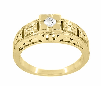 Art Deco Engraved Tiered Filigree Diamond Engagement Ring - 14 Karat Yellow Gold - Item R160Y - Image 2