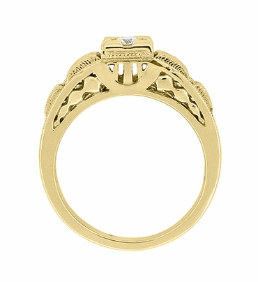 Art Deco Engraved Tiered Filigree Diamond Engagement Ring - 14 Karat Yellow Gold - Item R160Y - Image 4