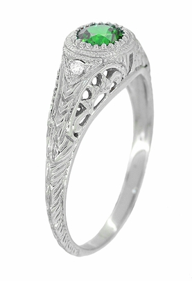 Art Deco Engraved Tsavorite Garnet and Diamond Filigree Engagement Ring in Platinum - Item R138PTS - Image 2