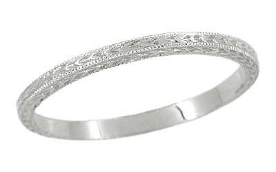 Art Deco Engraved Very Thin Wheat Wedding Band in 14 Karat White Gold