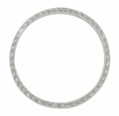 Art Deco Engraved Very Thin Wheat Wedding Band in Platinum - Item R633P - Image 1