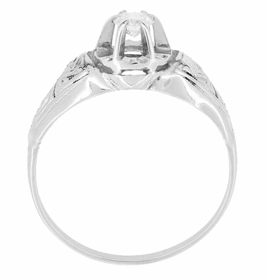 Art Deco Engraved Vintage Diamond Engagement Ring in Platinum - Item R1049 - Image 2