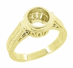 Art Deco 18K Yellow Gold Engraved Wheat and Filigree Bezel Mounting Engagement Ring for a 1 Carat Round Diamond | 6.5mm to 7mm Bezel Setting