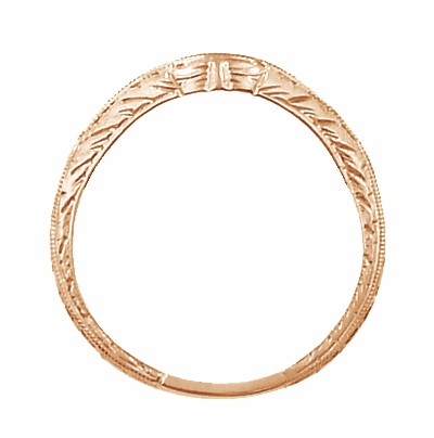Art Deco Engraved Wheat Curved Diamond Wedding Band in 14 Karat Rose Gold - Item WR679RD - Image 3