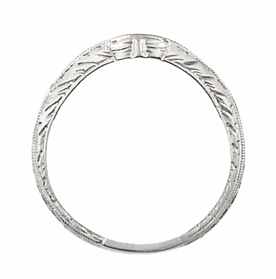 Art Deco Engraved Wheat Curved Diamond Wedding Band in 14 Karat White Gold - Item WR679W14D - Image 3