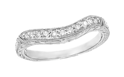 Art Deco Engraved Wheat Curved Diamond Wedding Band in 18 Karat White Gold