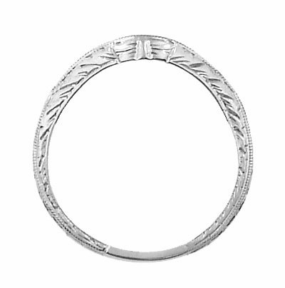 Art Deco Engraved Wheat Curved Diamond Wedding Band in 18 Karat White Gold - Item WR679WD - Image 3