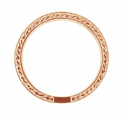 Art Deco Engraved Wheat Diamond Eternity Wedding Band in 14 Karat Rose ( Pink ) Gold - Item R678R - Image 1