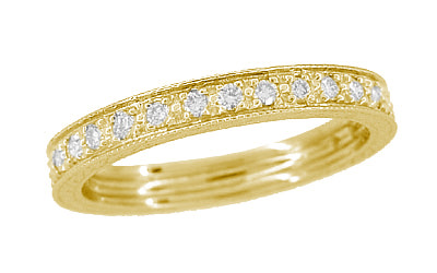 Art Deco Carved Wheat Diamond Eternity Wedding Band in 18 Karat Yellow Gold