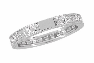 Art Deco Engraved Wheat Diamond Eternity Wedding Band in Platinum - Item R678P - Image 3