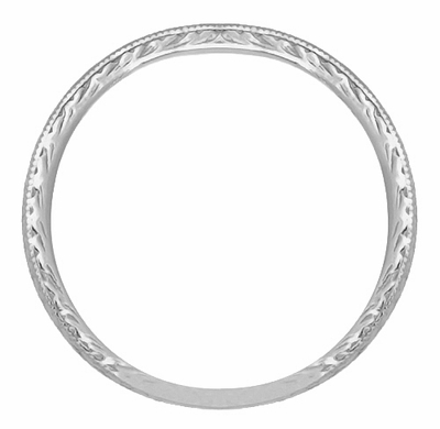 Art Deco Engraved Wheat Vintage Style Wedding Band in Platinum - Item R858PND - Image 1