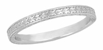 Art Deco Engraved Wheat Wedding Band in 18 Karat White Gold