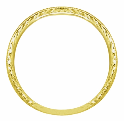 Art Deco Engraved Wheat Wedding Band in 18 Karat Yellow Gold - Item R858Y18ND - Image 1