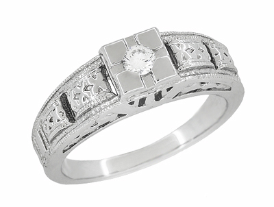 Art Deco Engraved White Sapphire Band Ring in Sterling Silver